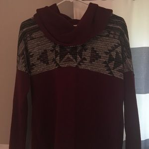 Aztec Sweater with Cowl Neck